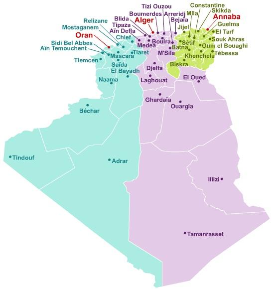 Carte Algerie El Oued.Tlscontact Center Alger